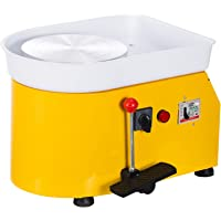 Cozyel Pottery Wheel 25cm Pottery Forming Machine 110V 250W Electric Pottery Wheel DIY Clay Tool with Tray for Ceramic Work Ceramics Clay Art Craft (Yellow)