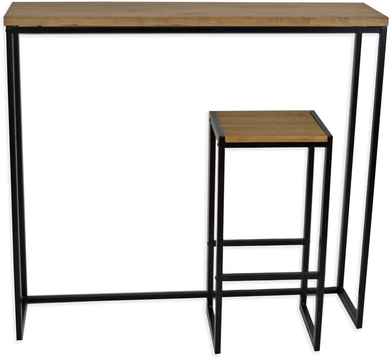 DS Dropshipping Table Haute Mange Debout Icub Industriel Vintage Bois et m/étal Noir 120x30cm 110 cm Haute