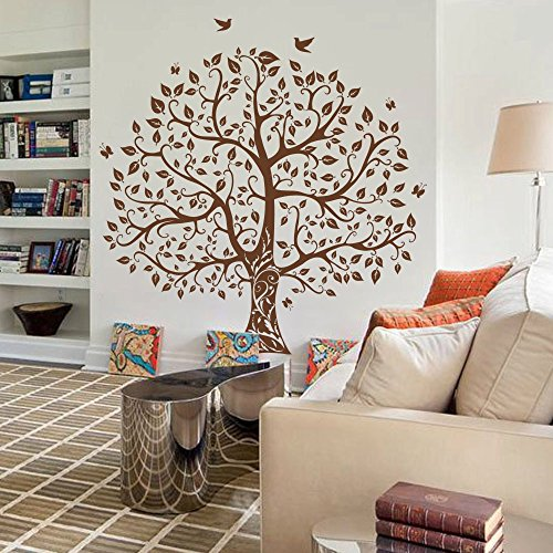 Vinyl Wall Decal Nature Design Tree Wall Decals Wall stickers Nursery Wall Decal Birds and Tree (Brown, Medium)