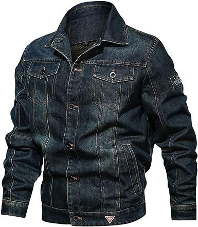 QINGYU Mens Jeans Jacket Single Row Buckles Holes Black Denim Jacket for Men