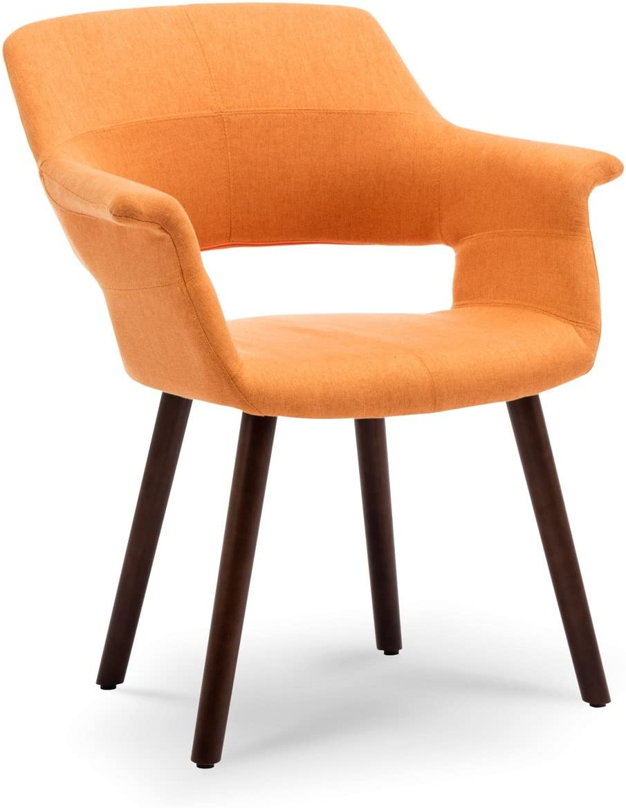 Belleze Mid-Century Modern Accent Chair Living Room Upholstered Linen Dining Armchair with Wood Legs, Orange