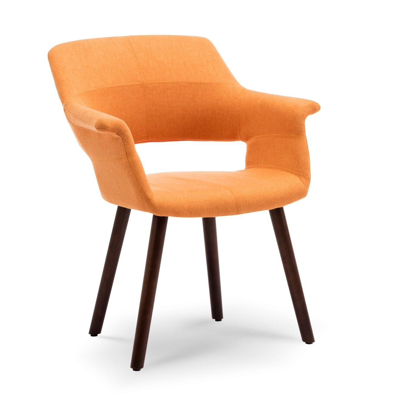 Belleze Mid-Century Modern Accent Chair Living Room Upholstered Linen Dining Armchair with Wood Legs, (Orange)