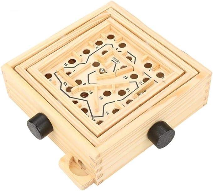 KKRIIS Laberinto de Madera Juegos de Mesa Juguetes 3D Laberinto Juguetes con Cuentas de Acero Desarrollo Puzzles educativos Juguete para niños, Estilo A: Amazon.es: Hogar