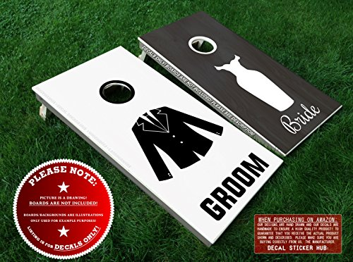 Bride and Groom Cornhole Board Decals - BLACK