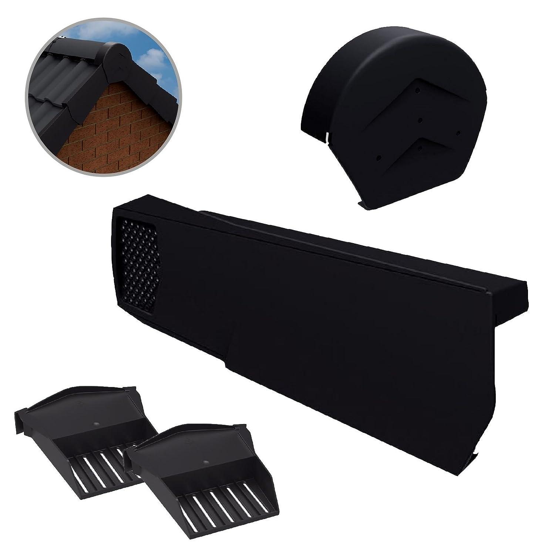 20 x Universal Black Dry Verge Units, Round Ridge Cap & 2 x Starter Closure Kits Home.smart