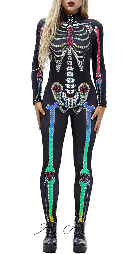 Gludear Women Halloween Costumes Cosplay Skull Print Long Sleeve Jumpsuit Skeleton Catsuit,Colorful Skeleton,L