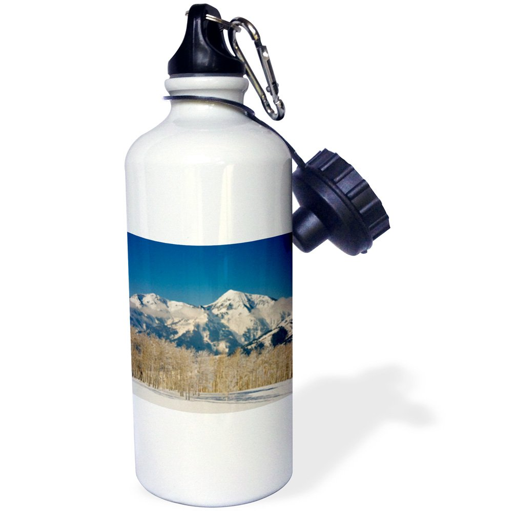 3dRose wb_147275_1'Aspens, Box Elder Peak, Lone Peak, Utah, USA-US45 HGA0374-Howie Garber' Sports Water Bottle, 21 oz, White