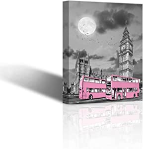 Canvas Wall Art Modern Bedroom Decor Nordic London City Skyline Theme Home Decor Big Ben Moon Pink Bus Black and White Wall Decoration Ready to Hang 12x16 inches
