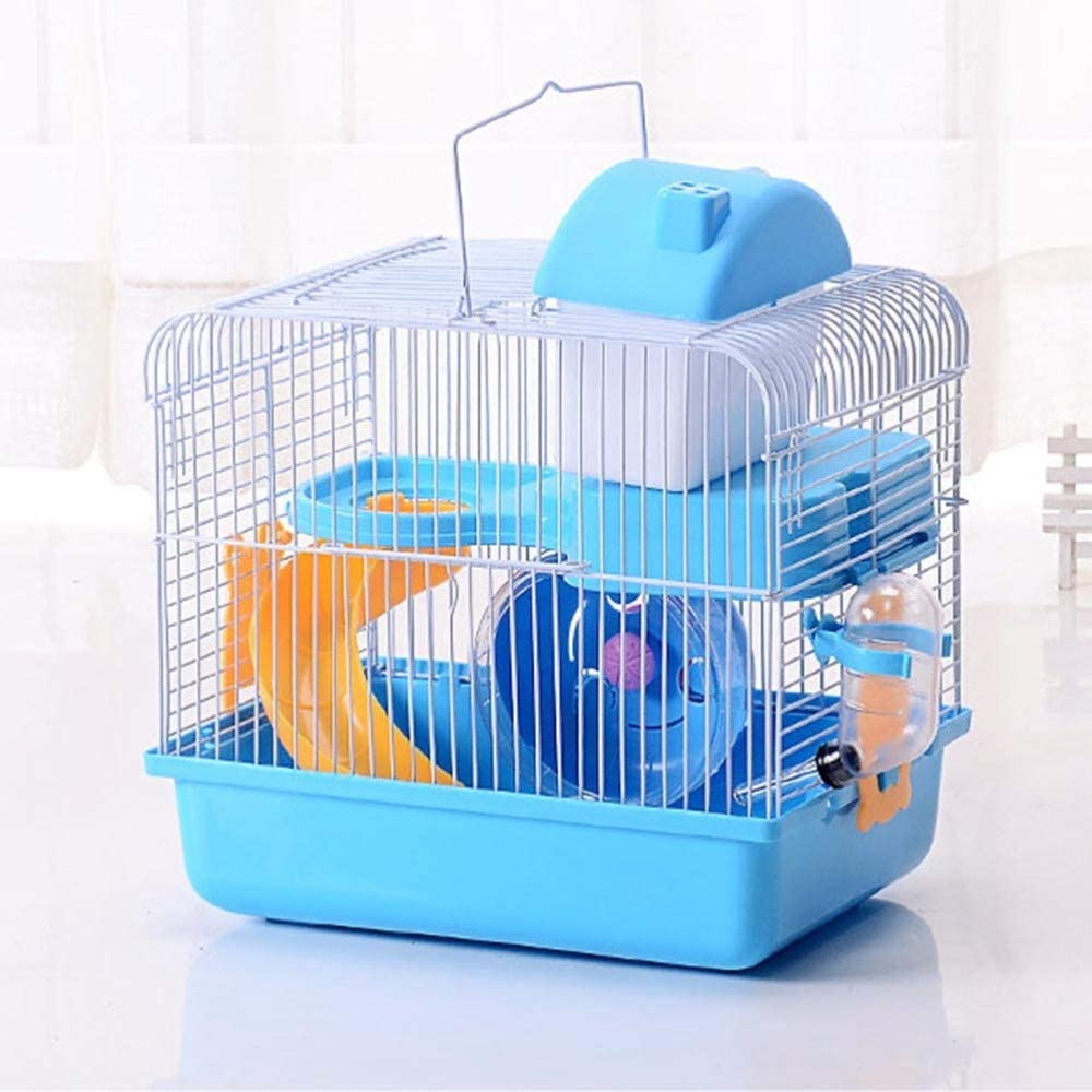 JUILE YUAN 2-Tier Portable Travel Cage for Small Animals, Dwarf Hamster Travel Carrier with Carry Handle Exercise Wheel Water Bottle and Food Dish, 6.7 x 11.8 x 9.1 Inch