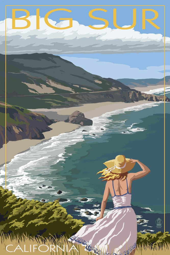 Big Sur、カリフォルニアCoastシーン 16 x 24 Signed Art Print LANT-33221-709 B07B24D8J5 16 x 24 Signed Art Print16 x 24 Signed Art Print