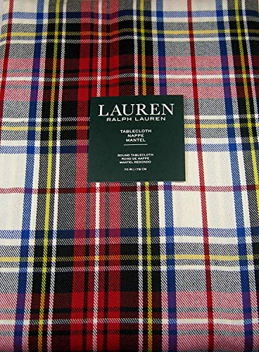 Ralph Lauren Gretchen Tartan Plaid Tablecloth Ivory 70 Round -