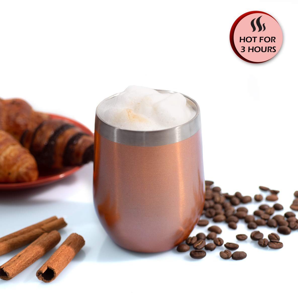 12 oz Wine Tumbler Stemless Glass with Lid, Set of 2 Stainless Steel Double-Insulated for Wine, Coffee, Drinks, Champagne, Cocktails, Rose Gold, Comes with Bonus: 2 Straws, Brush 2 Extra Lid Sealers