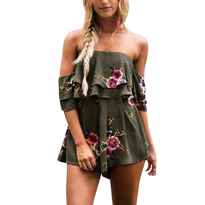 Damen Jumpsuit Kurz Lose, Manadlian Clubwear Elegant Overall Frauen Bandage  Bodysuit Sexy Overall Playsuit Romper 2ea53f6bb8