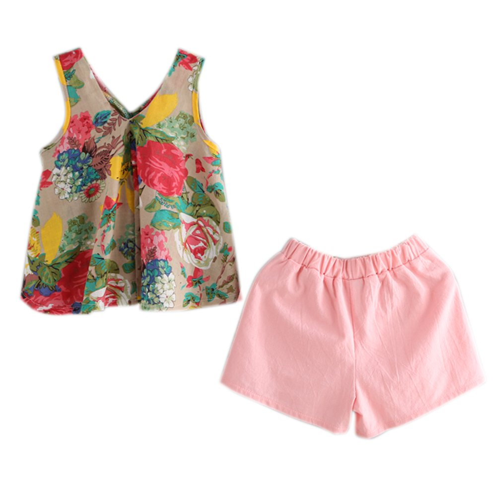 Brightup Kids Baby Girl Floral Printed Blouse Vest T Shirt Tops+Shorts Pants Casual Sunsuit Outfits 2-8 Years