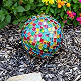 Lily's Home Mosaic Glass Gazing Ball, Red, Blue, Gold & Green, 10-Inch