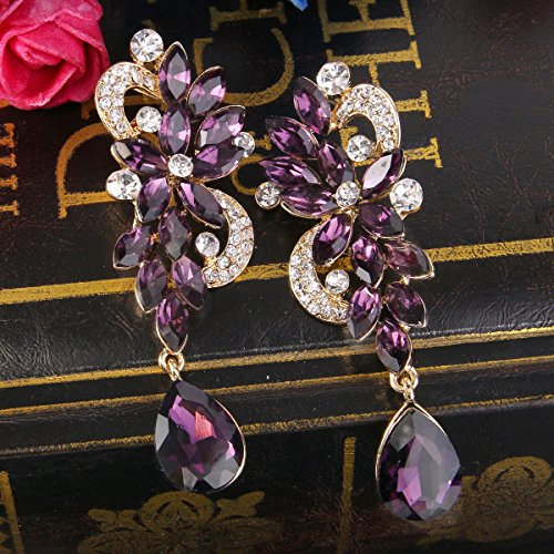 BriLove Women's Wedding Bridal Dangle Earrings Bohemian Boho Crystal Flower Chandelier Teardrop Bling Earrings Amethyst Color Gold-Tone by BriLove (Image #3)