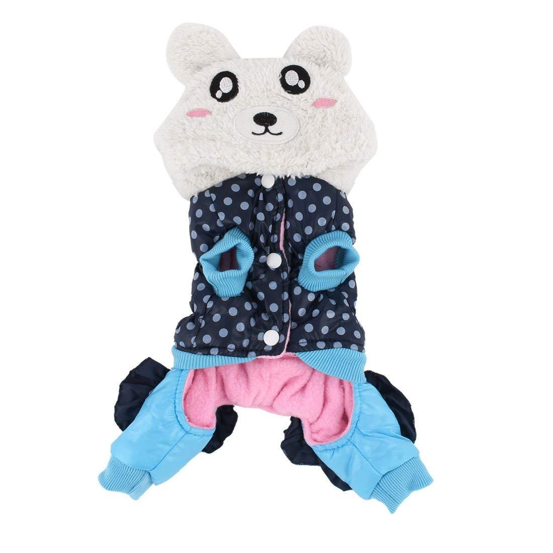 Cotton Blends Panda Shaped Pet Dog Doggy Clothes Coat Dark bluee White