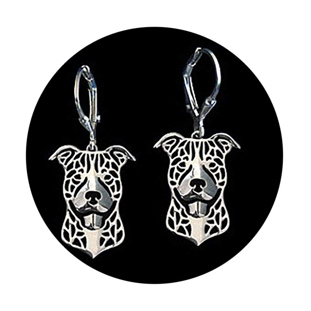 Ginger Lyne Collection Pit Bull Ears Down Sterling Silver Puppy Dog Hook Earrings