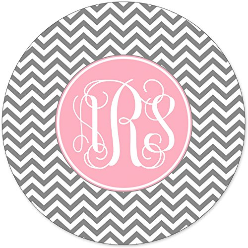 Monogrammed Mouse Pad Pretty Grey Chevron Zig Zag Pink Monogram Personalized Custom