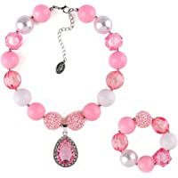 Niumike Little Girl Lightweight Chunky Bubblegum Necklace and Bracelet Set with Teardrop Crystal Pendant for Kid Birthday Gift, Box