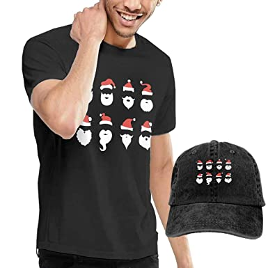 8ff2017d2c2 Men s Santa Claus Beard and Hat Set Short Sleeve Tshirts Size 29 Black  (with A