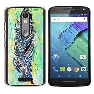 LECELL--Funda protectora / Cubierta / Piel For Motorola MOTO X3 3rd -- Pluma Patrón india de la acuarela --