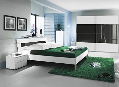 Camera Da Letto Bianco E Grigio : Camera da letto pezzi in bianco alpino con abs in vetro grigio