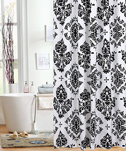 black white damask shower curtain - 7
