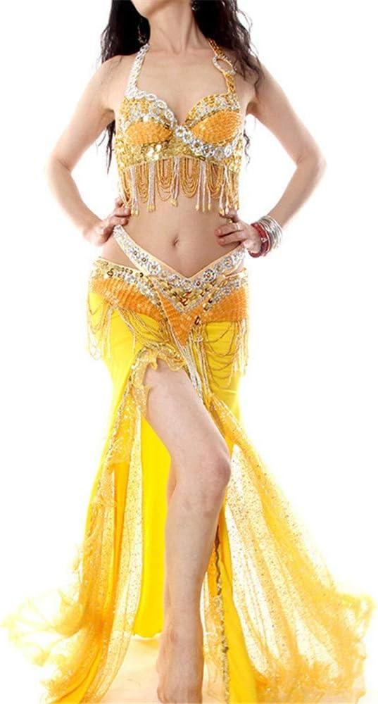 レディースダンススカート セクシーなベリーダンスの服のベリーダンスのスカートおよびブラのベリーダンスの用品類 (色 : 黄, サイズ : M) 黄 Medium