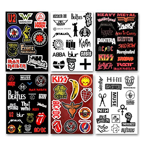 (Laptop Stickers 92pcs Assorted Punk Rock Music Band Vinyl Laptop Car Bumper Stickers 6 Pack)