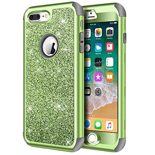 iPhone 8 Plus Case, iPhone 7 Plus Case, Hython Heavy Duty Defender Protective Case Bling Glitter Sparkle Hard Shell Armor Hybrid Shockproof Rubber Bumper Cover for iPhone 7 Plus and 8 Plus, Green