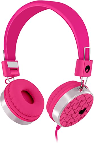 Rockpapa Love Heart On Ear Wired Headphones Foldable, Adjustable Headband with 3.5mm Jack for Kids Children Toddler Teens Age 3-15, Mp3 4 CD iPod iPad Mobile Tablet in Car Airplane Pink