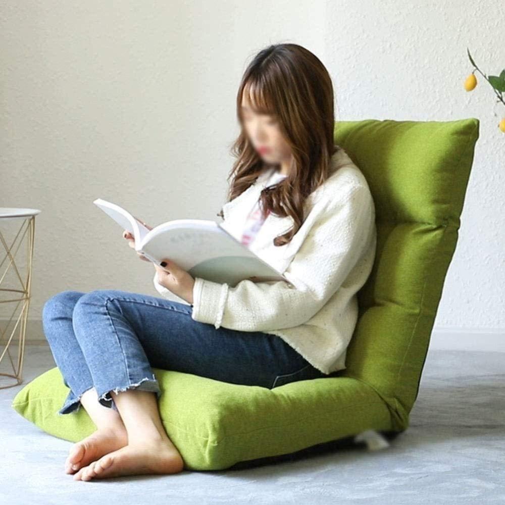 Vikbar vadderad golvstol, loungestol justerbar bekväm andningsbar dator stol sovrum vardagsrum knästol (färg: Lätt kaffefärg) Light Coffee Color