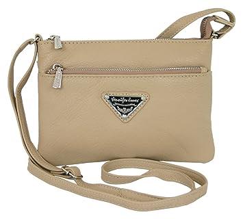 1feb936e507d1f Kleine Leder Damen Handtasche Beige crossover Umhängetasche Klein  Schultertasche für Frauen Crossbody Abend-Tasche (