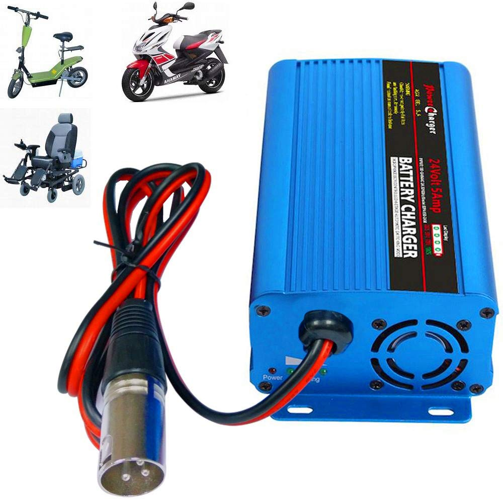 24V 5Amp Smart Automatic Battery Charger, Portable Battery Maintainer With XLR Connector for Car Boat Lawn Mower Marine Scooter Wheelchair Motorcycle eBike by TPE