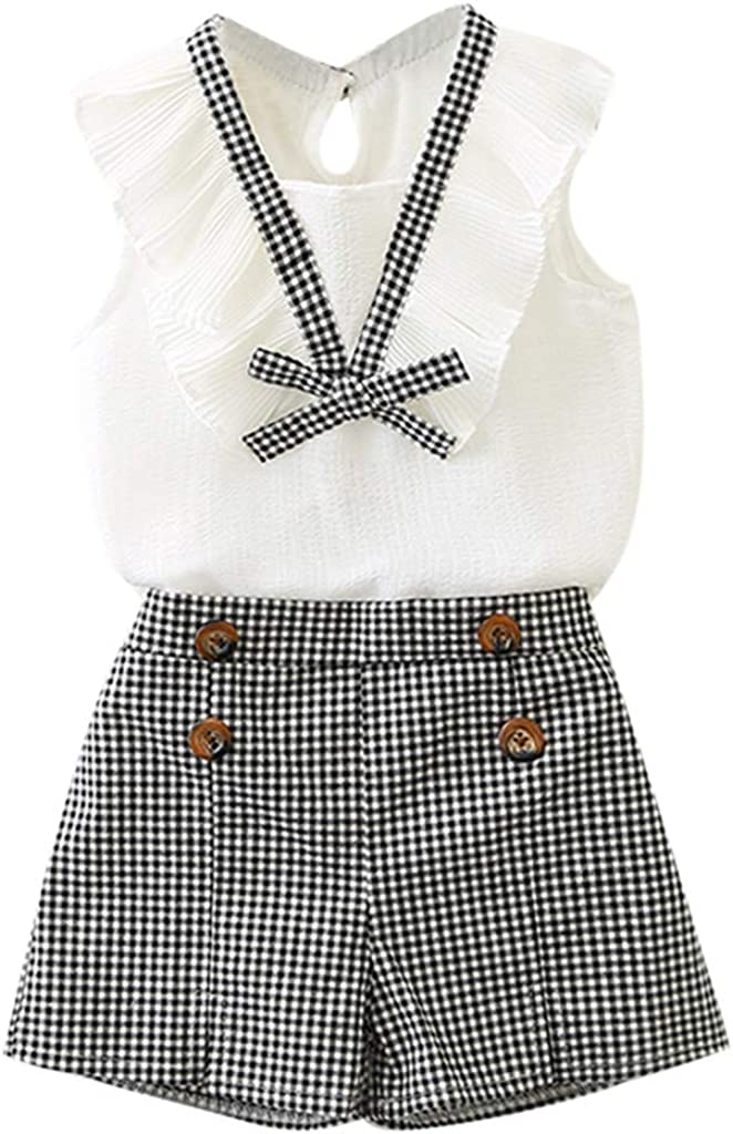 White,2-3T Suma-ma Baby Girls Short Outfits Clothes Toddler Kids Bowknot Vest Tops+Plaid Shorts Pants Set