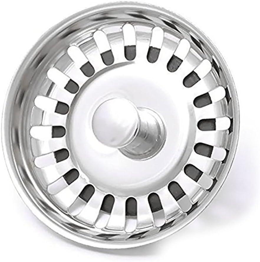 Universal Strainer Basket,Acero Inoxidable Cocina Fregadero Filtro,v/álvula de desag/üe di/ámetro 81 mm altura 14.4 mm,20 drainage slots,Barra de gu/ía con bola.