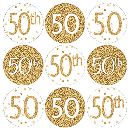 50th Birthday Party Favor Stickers - White and Gold - 180 Count (50th Birthday Stickers)