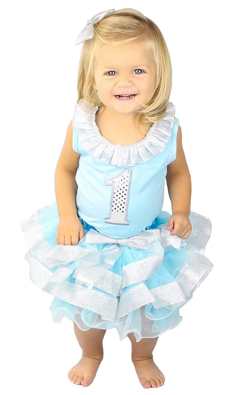 Birthday Dress Silver 1st Light Blue Shirt Silver Trim Blue Petal Skirt Set 1-8y