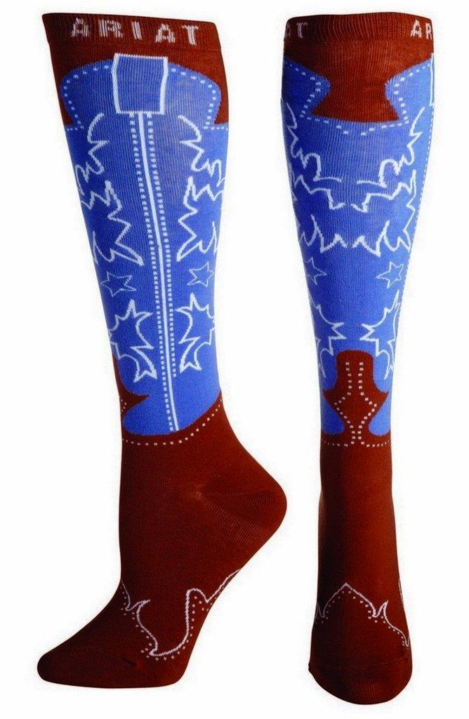 Ariat Women's Women's Over the Calf Boot Novelty Sock Sockshosiery, Brown, OSFM