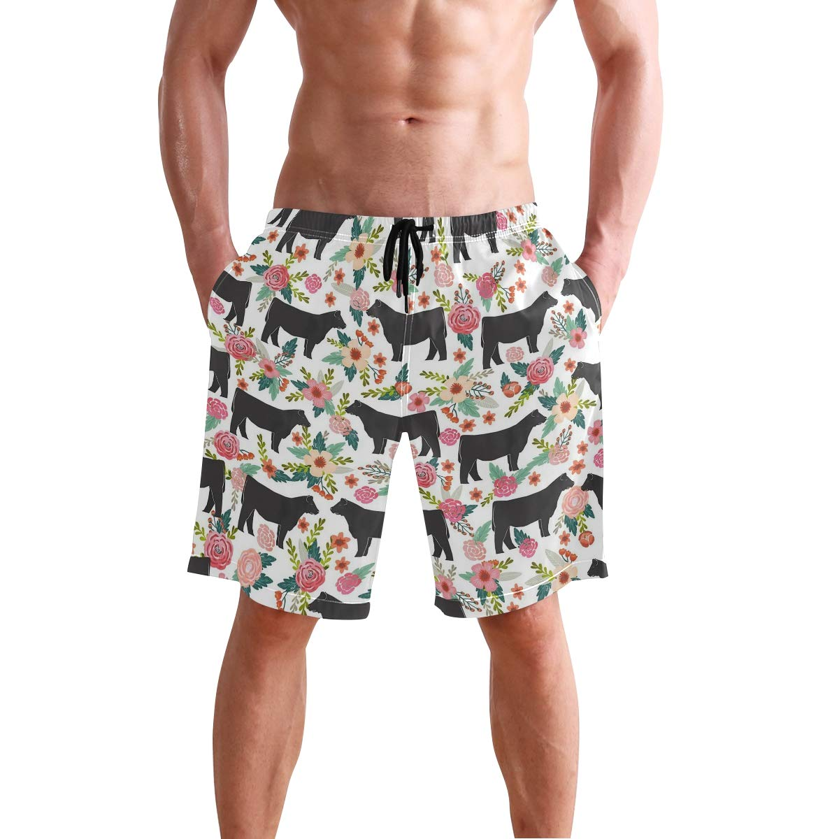 Cows Cattle Mens Quick Dry Swim Trunks Swimming Shorts with Mesh Liner