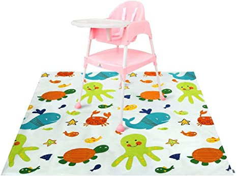 Winthome Highchair Splash Mat Baby 43.3x43.3 Cartoon Protective Floor Splash Mat Waterproof and Anti Slip Paint Splash Mat Large