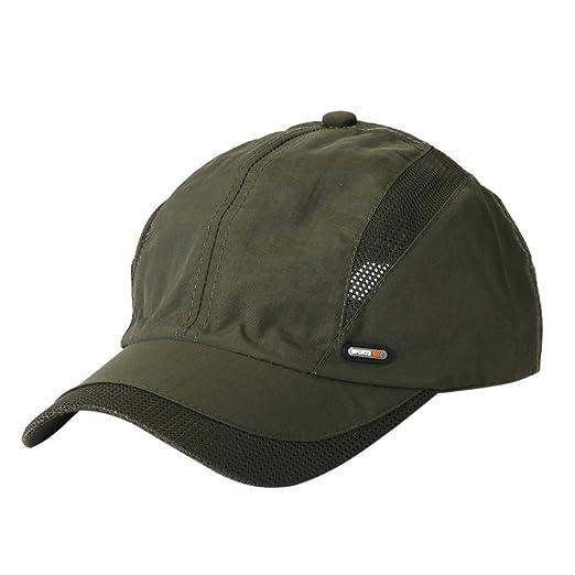 542b9bd7e3f Unisex Summer Baseball Cap Adjustable Sunscreen Cap Snapback Hip-Hop Hat  Mesh Back Outdoors Breathable Cap (Army Green) at Amazon Women s Clothing  store