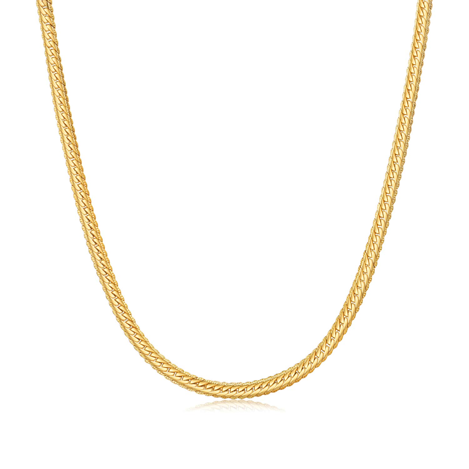 WINNICACA 24K Gold Plated Necklace Mens Cuban Snake Chain Necklace Womens Mens Girls 18''-28inch, 3mm-6mm Wide 3mm Wide Unisex
