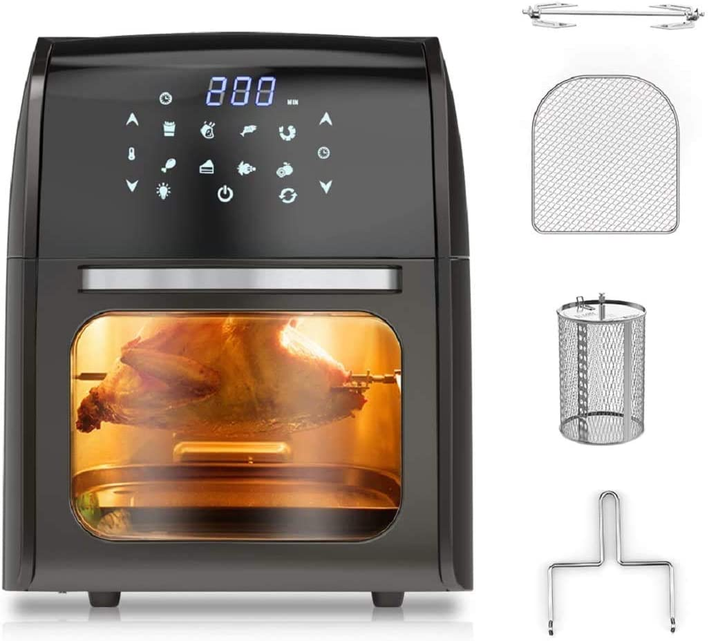 nozama Air Fryer 8 in 1 Big Capacity Air Fryer Toaster Oven 10.5QT with LED Digital Touch Screen Toaster Oven Oil-free and Low-fat Toaster Oven with 8 Cooking Presets and 4 Accessories (Black)