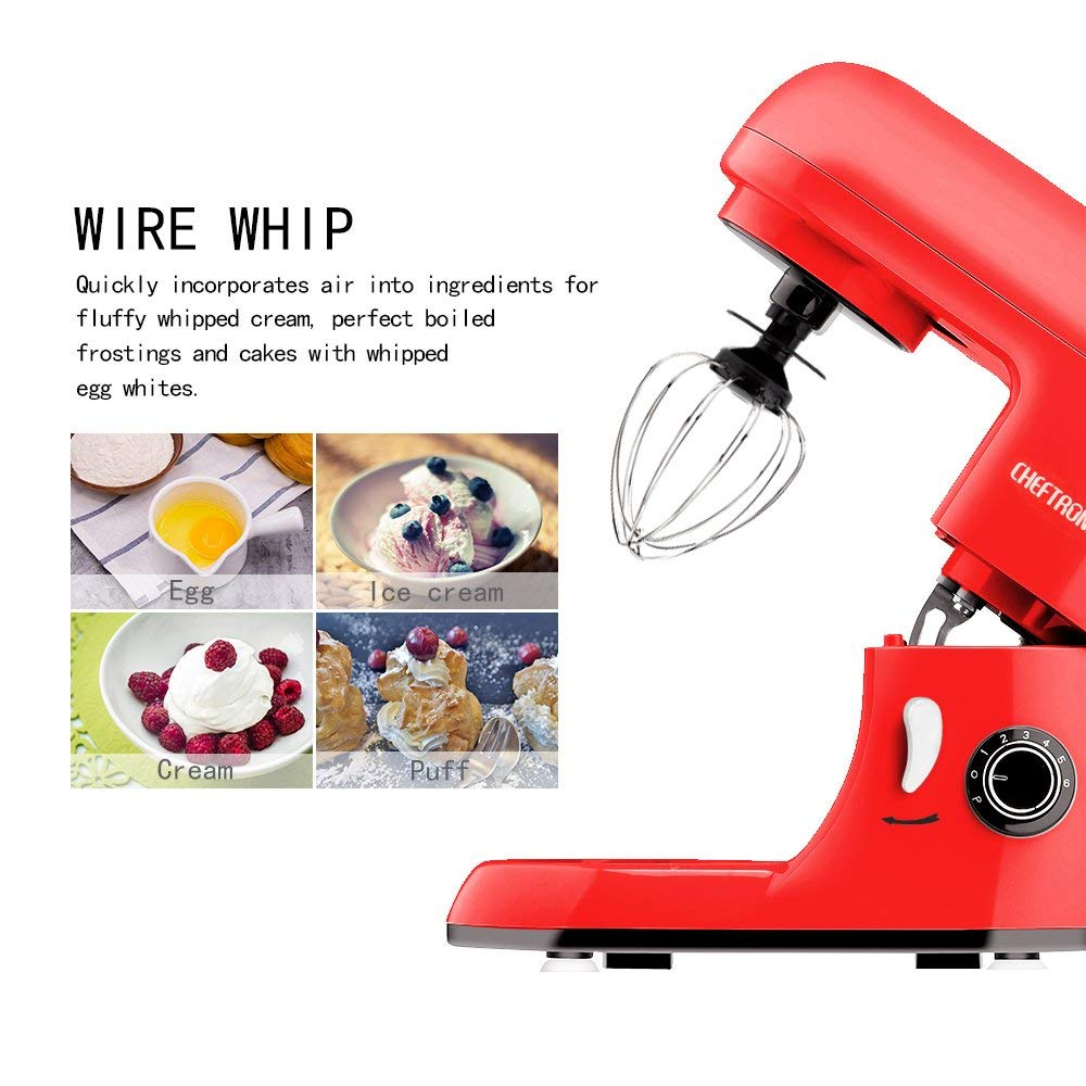 CHEFTRONIC Stand Mixers Tilt-head Mixers Kitchen Electric Dough Mixer for Household Aids 120V//350W 4.2qt Stainless Steel Bowl