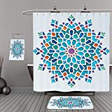 Uhoo Bathroom Suits & Shower Curtains Floor Mats And Bath TowelsArabian Decor Illustration of Old Islamic Arabesque Ethnic Antique Oriental Damask Round Motif Art Work MultiFor Bathroom