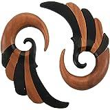 Bandaru Organics Two Toned Striped Ebony and Sawo Wood Wing