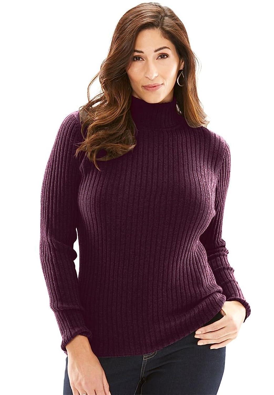 Black Ladies Plus Size Long Sleeve Turtleneck Ribbed Sweater at ...