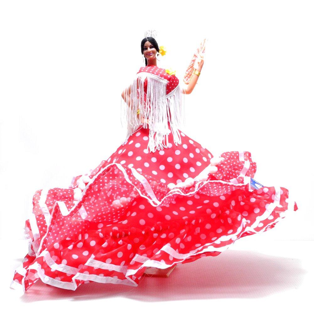 スペイン製 赤ドレス 白シージョ フラメンコドール 世界的に有名 Marin社 バイラオーラ 人形 sma-180r B01JYRDXD0 レッド レッド